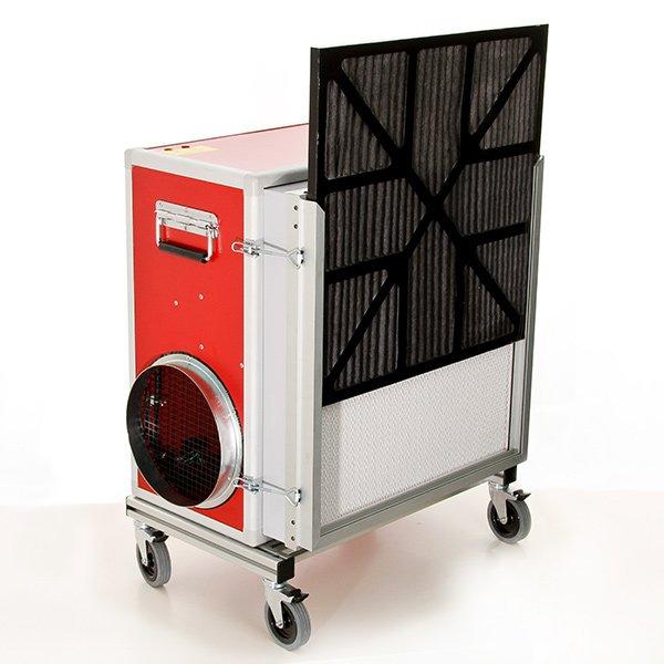 afzuiging houtbewerking uitschuifbare prefilter en HEPA H 13 filter tegen fijnstof pullman ermator A2000