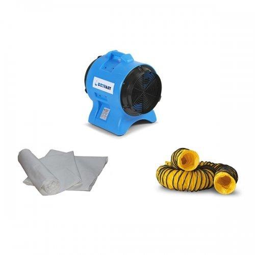 bouw stofafzuiging stofbeheersing met turboventilator luchtslang en stofzakken DAF 2500 Dryfast