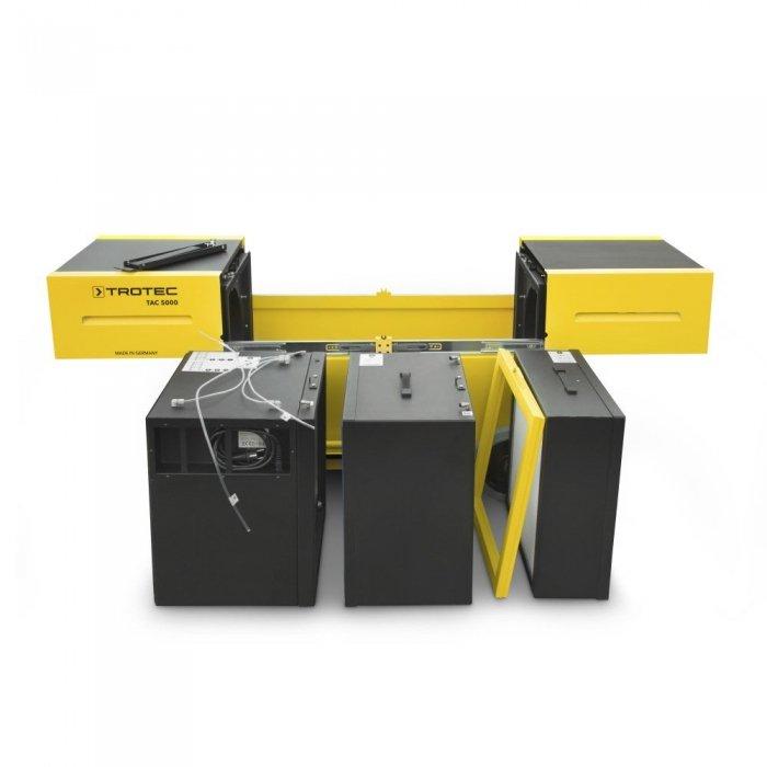 stofafzuiging werkplaats modulaire filterelementen en vorkheftrucksleuven onderaan TAC 5000 trotec