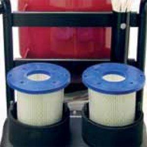 derde filterfase twee hepa h13 absoluutfilters voor de twee motoren derde filterfase in deze bouwstofzuiger S26 Pullman Ermator
