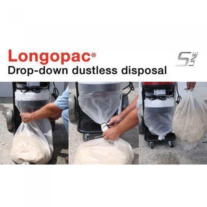 innovatieve plastieken slurf om opgezogen afval stofvrij af te voeren longopac S13 pullman ermator