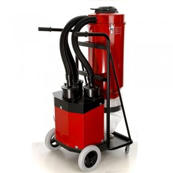 industriestofzuiger s36 pullman ermator achteraanzicht drie luchtslangen voor drie motoren en drie HEPA filters